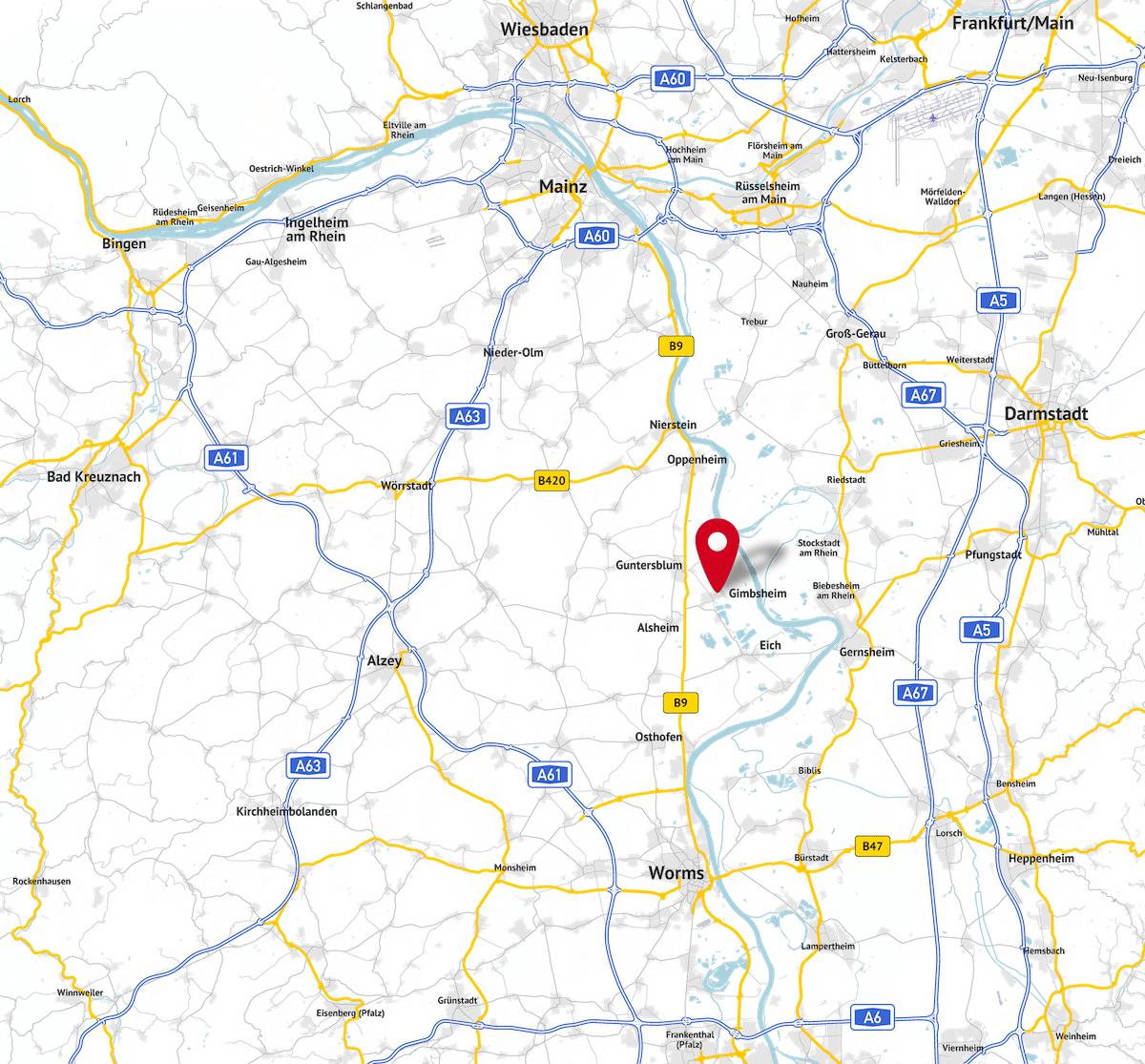 Lageplan FINAWA Finanzplanung Andrea Wallenwein Gimbsheim Rheinhessen